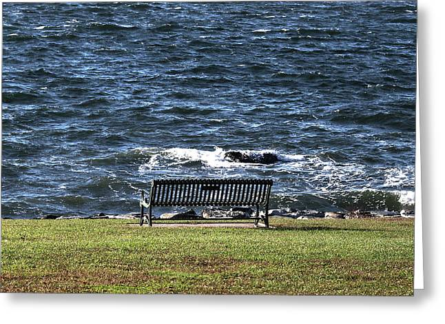 Greeting Card featuring the photograph A Bench By The Sea by Tom Prendergast