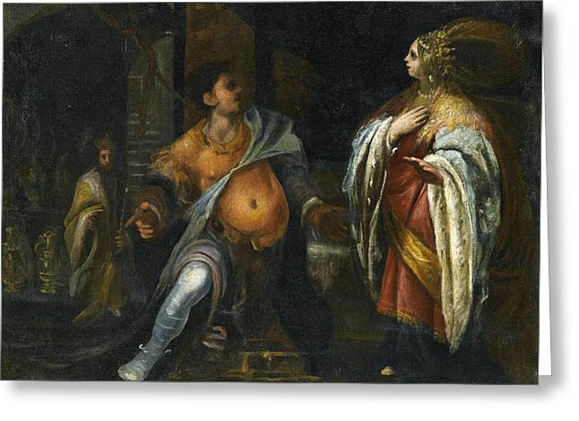 A Biblical Subject Probably Esther Standing Before Haman Behind Them King Ahasuerus Greeting Card by Cecco Bravo