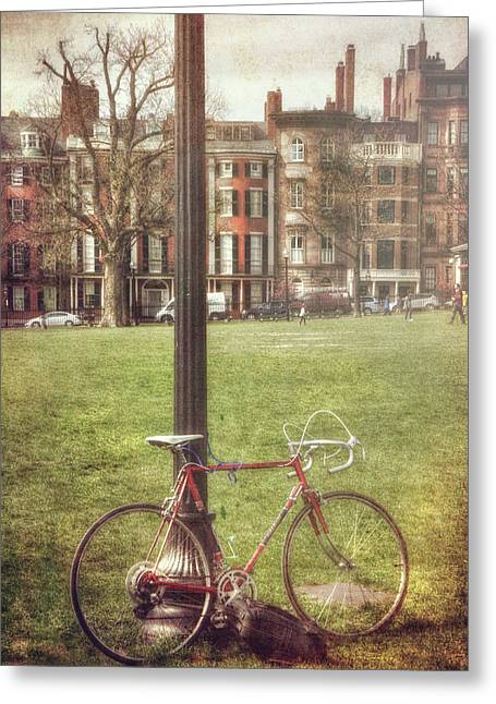 Greeting Card featuring the photograph A Bicycle On Boston Common by Joann Vitali