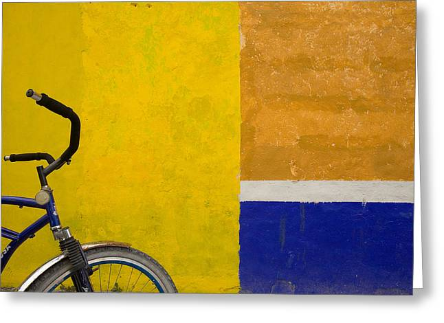 Cozumel Greeting Cards - A Bicycle Waits For Its Owner Greeting Card by Michael S. Lewis