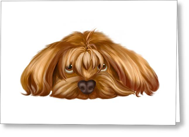 A Big Dog Lower His Body To The Ground, Thinking Something. Greeting Card by Next Mars