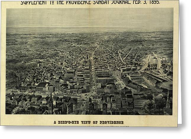 A Bird's-eye View Of Providence Showing The New Railroad Station And State House Greeting Card