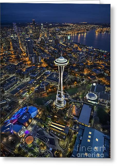 A Birds-eye View Of Seattle Greeting Card