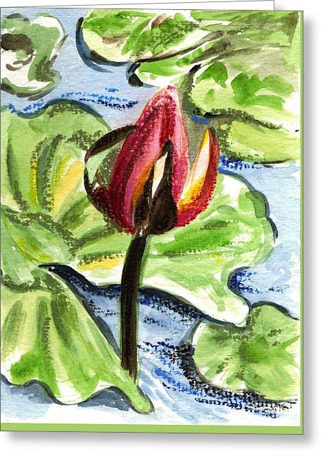 Greeting Card featuring the painting A Birth Of A Life by Harsh Malik