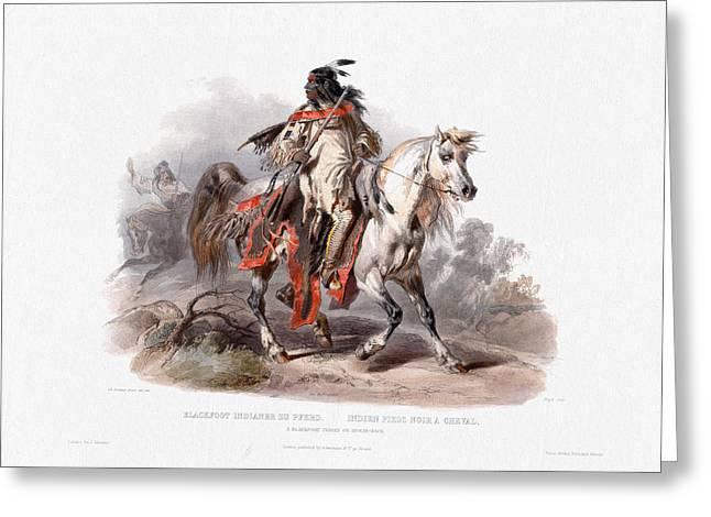 A Blackfoot Indian On Horseback - Wall Art Prints Greeting Card