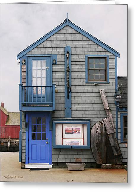 Rockport Greeting Cards - A Blue Door Rockport Massachusetts Greeting Card by Michelle Wiarda