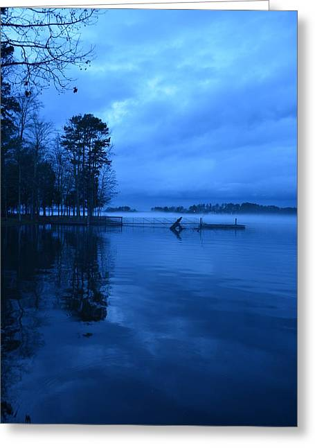 A Blue Foggy Night Vertical Greeting Card by Lisa Wooten