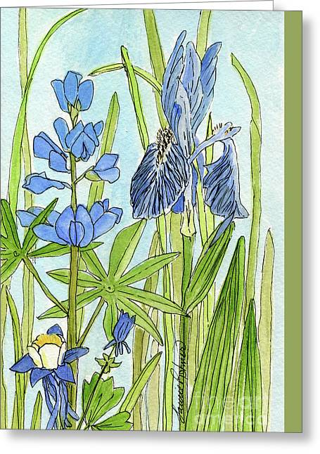 A Blue Garden Greeting Card by Laurie Rohner