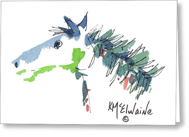 A Blue Roan Horse Watercolor Painting By Kmcelwaine Greeting Card