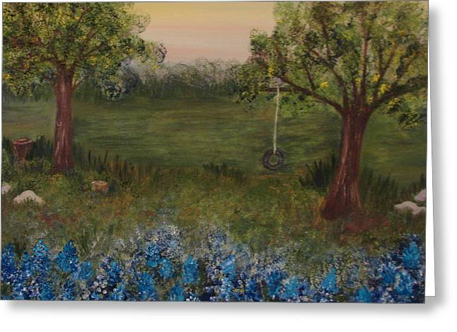 A Bluebonnet Swing Greeting Card by Shiana Canatella