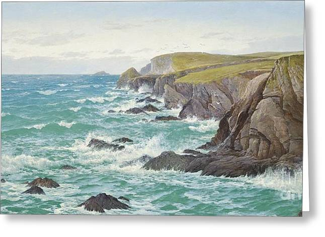 A Blustery Day Off The Cornish Coast Greeting Card by Celestial Images