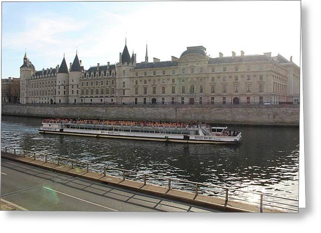 A Boat On The River Seine Greeting Card by Rikki Prince