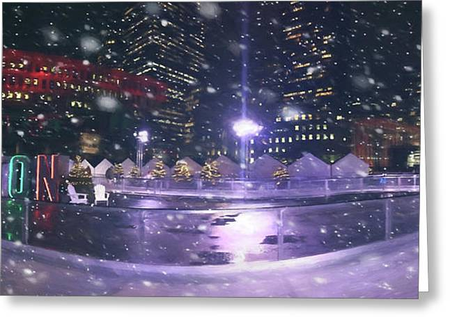 Greeting Card featuring the photograph A Boston Winter - City Hall Plaza by Joann Vitali