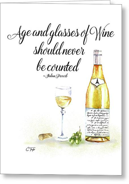 A Bottle Of White Wine Greeting Card by Colleen Taylor