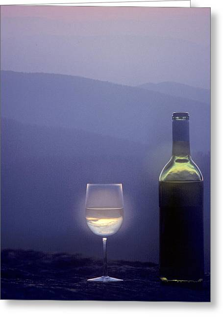 A Bottle Of Wine And Glass Greeting Card by Kenneth Garrett