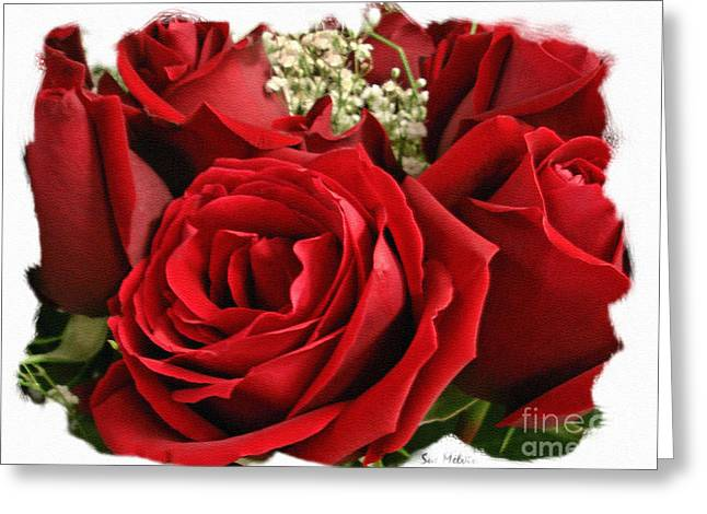 A Bouquet Of Red Roses Greeting Card by Sue Melvin