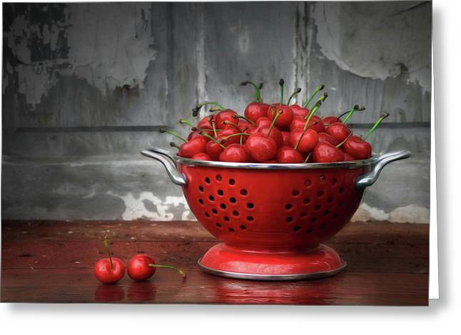A Bowl Of Cherries Greeting Card by Lori Deiter