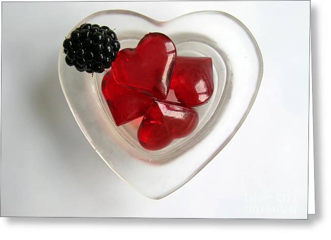 Greeting Card featuring the photograph A Bowl Of Hearts And A Blackberry by Ausra Huntington nee Paulauskaite