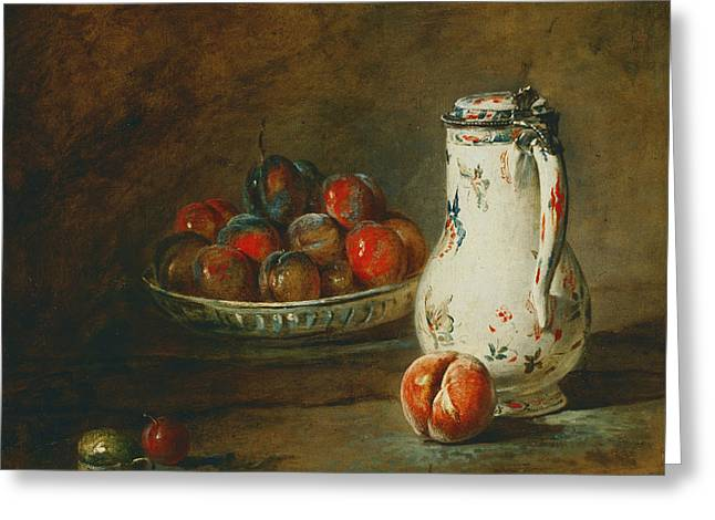 A Bowl Of Plums Greeting Card by Jean-Baptiste-Simeon Chardin