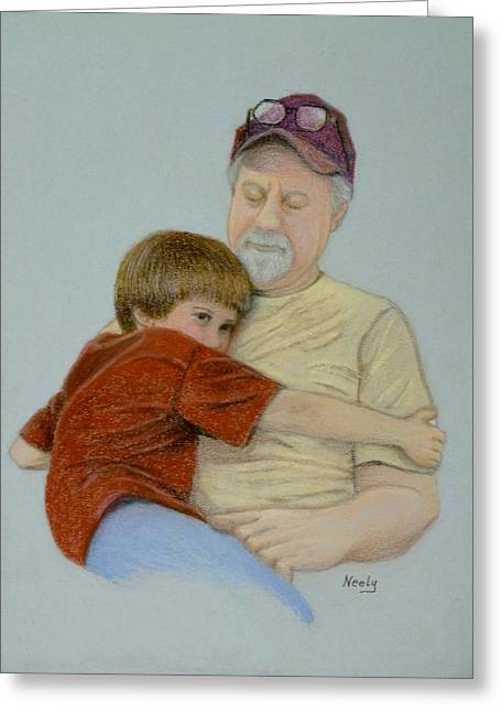 A Boy And His Dad Greeting Card by Pat Neely