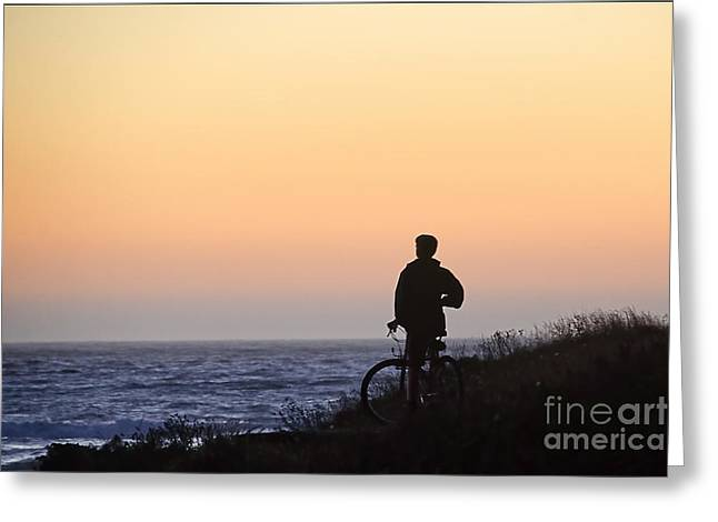 A Boy His Bike And The Beach Greeting Card by Norma Warden