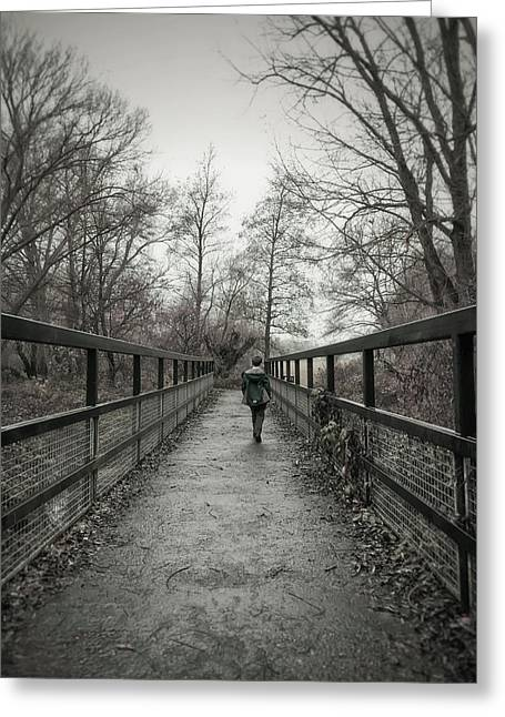 A Boy On A Bridge  Greeting Card by Tom Gowanlock