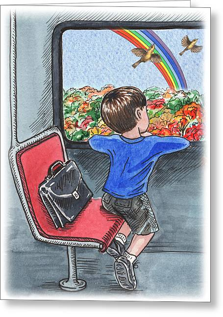 A Boy On The Bus Greeting Card