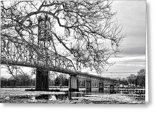 A Bridge In Winter Greeting Card by Olivier Le Queinec