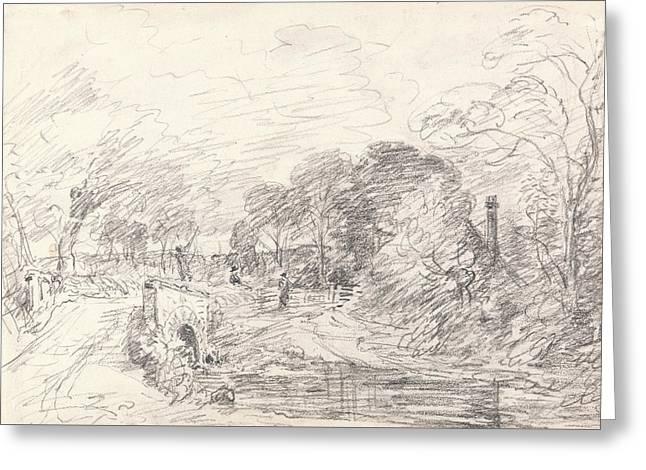 A Bridge Near Salisbury Court Perhaps Milford Bridge Greeting Card by John Constable