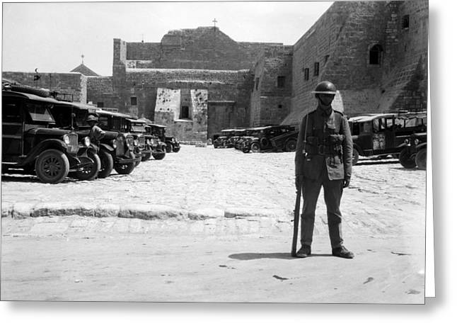 A British Soldier In Front Of Nativity Church Greeting Card by Munir Alawi
