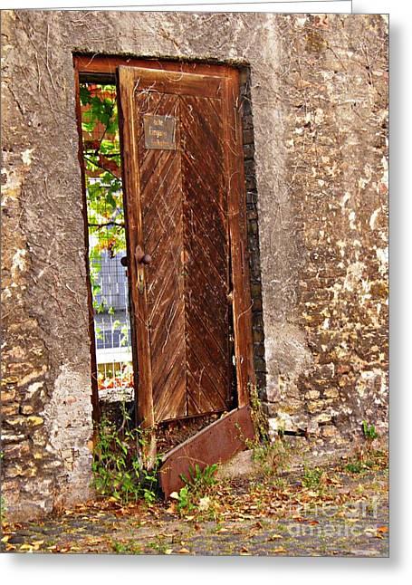 A Broken Door In Mainz Greeting Card by Sarah Loft