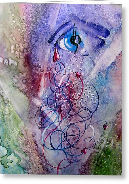 A Broken Eye Still Cries Greeting Card by Marsha Elliott