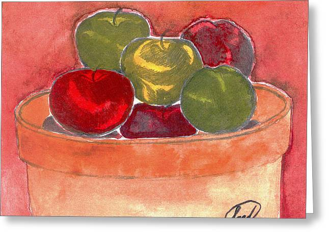 Greeting Card featuring the painting A Bucket Full Of Apples by Saad Hasnain