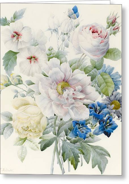 A Bunch Of Flowers Greeting Card by Pierre Joseph Redoute