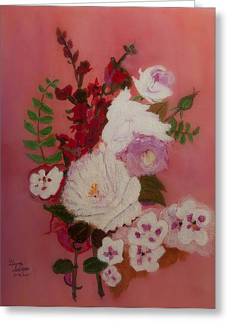 Greeting Card featuring the painting A  Bunch Of Flowers by Swabby Soileau