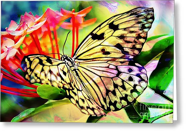 A Butterflies Luck Greeting Card by Clare Bevan