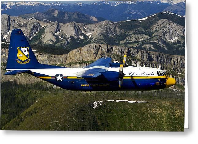 Escarpment Greeting Cards - A C-130 Hercules Fat Albert Plane Flies Greeting Card by Stocktrek Images