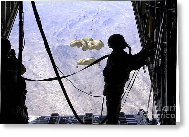 A C-130 Hercules Loadmaster Observes Greeting Card by Stocktrek Images