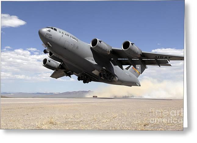 A C-17 Globemaster Departs Greeting Card by Stocktrek Images
