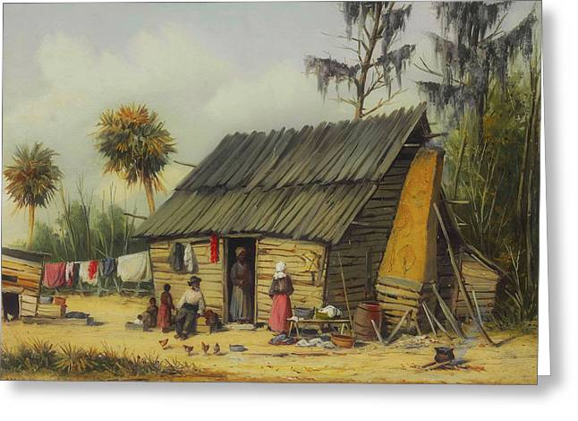 A Cabin Scene With Washing On The Fence Greeting Card by William Walker