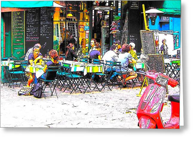 A Cafe Scene In Paris Greeting Card