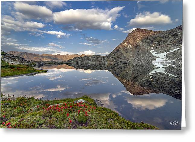 A Calm Mountain Lake Greeting Card by Leland D Howard