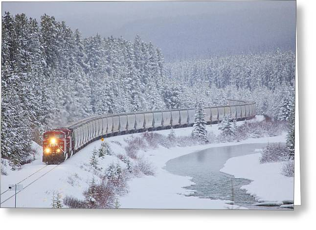 A Canadian Pacific Train Travels Along Greeting Card by Chris Bolin