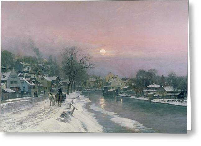 A Canal Scene In Winter  Greeting Card by Anders Anderson Lundby