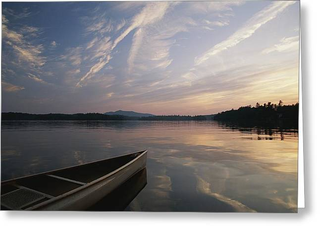 Middle Atlantic States Greeting Cards - A Canoe On The Lower St. Regis Lake Greeting Card by Michael Melford