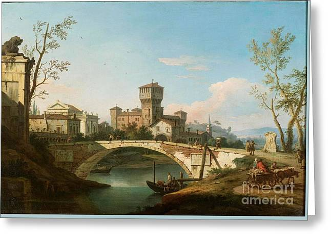 A Capriccio Of A Bridge Over A River Guarded By A Tower Greeting Card