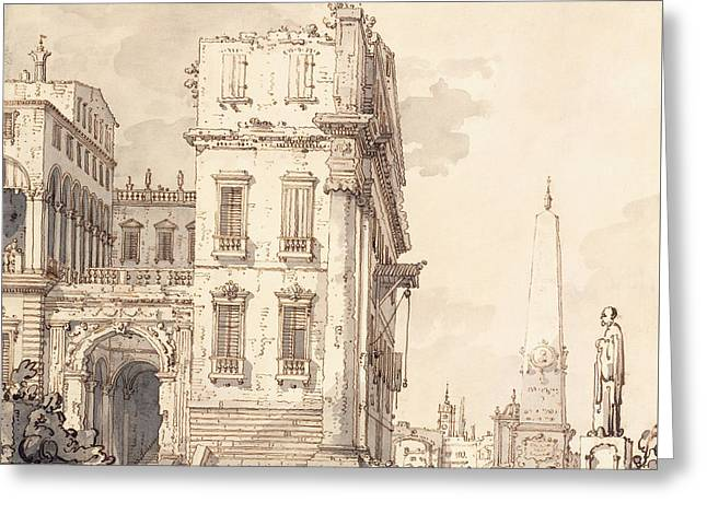 A Capriccio Of A Venetian Palace Overlooking A Piazza With An Obelisk Greeting Card