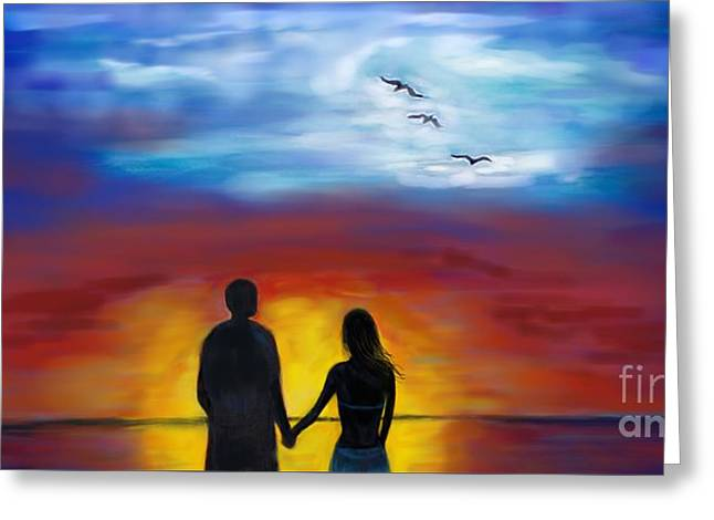 Greeting Card featuring the painting A Captivating Love by Leslie Allen