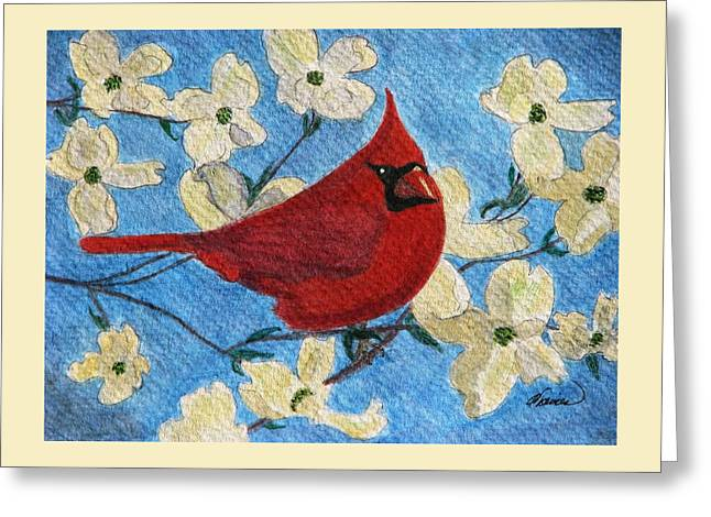 Greeting Card featuring the painting A Cardinal Spring by Angela Davies
