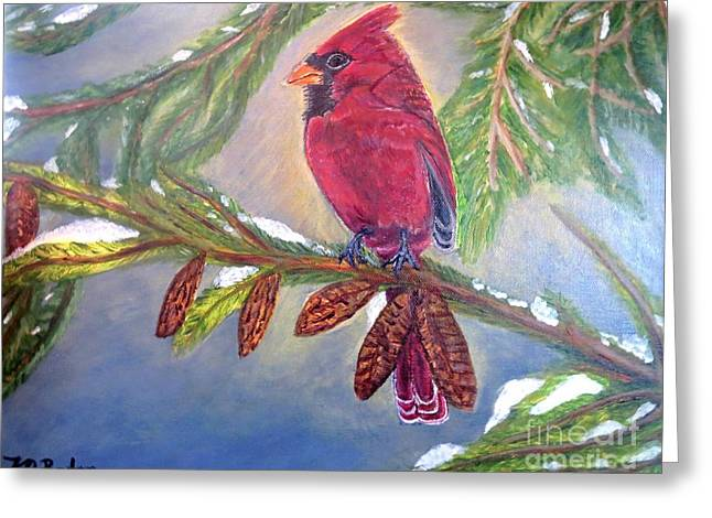 A Cardinal's Sweet And Savory Song Of Winter Thawing Painting Greeting Card by Kimberlee Baxter